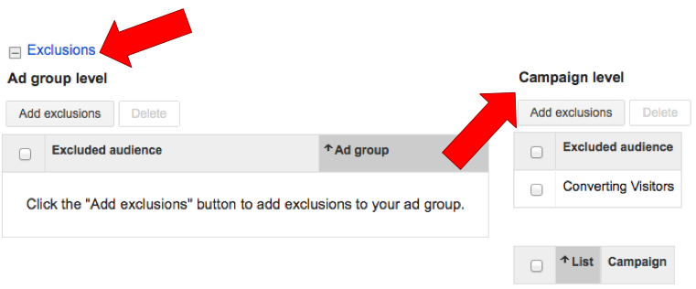 Remarketing Exclusion Lists