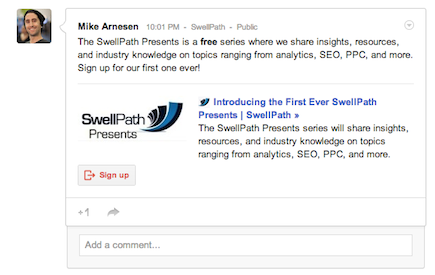 Example of a Google Plus Interactive Post